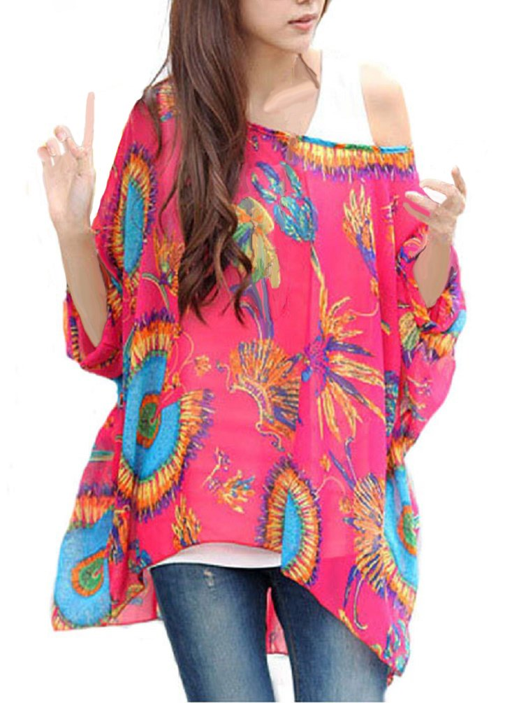 iNewbetter Womens Floral Batwing Sleeve Chiffon Beach Loose Blouse Tunic Tops (Pattern 05)