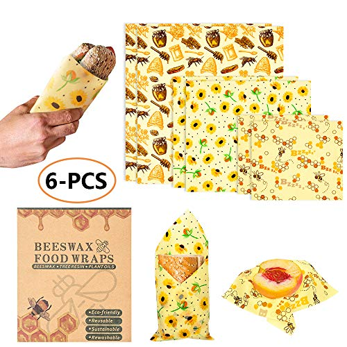 (6 PACK) Reusable Beeswax Food Wraps - Perfect for Food Storage, Sustainable Eco-Friendly, Organic Cotton, Non-Toxic 100% BPA Free, Easy to Use and Wash, 6 Pack with 3 Different Size ()