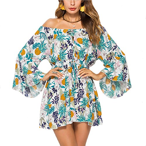 (Meland Women's Floral Pleated Waist Off Shoulder Mini Dress with Flutter Sleeves (White/Pineapple Pattern) - Large (US 8-10))