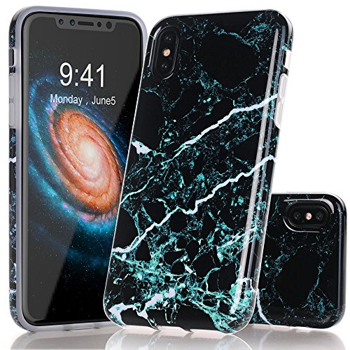 BAISRKE iPhone X Case, Black Teal Marble Creative Design Case Slim Flexible Soft Silicone Bumper Shockproof TPU Rubber Glossy Skin Cover for iPhone X XS [5.8 inch]
