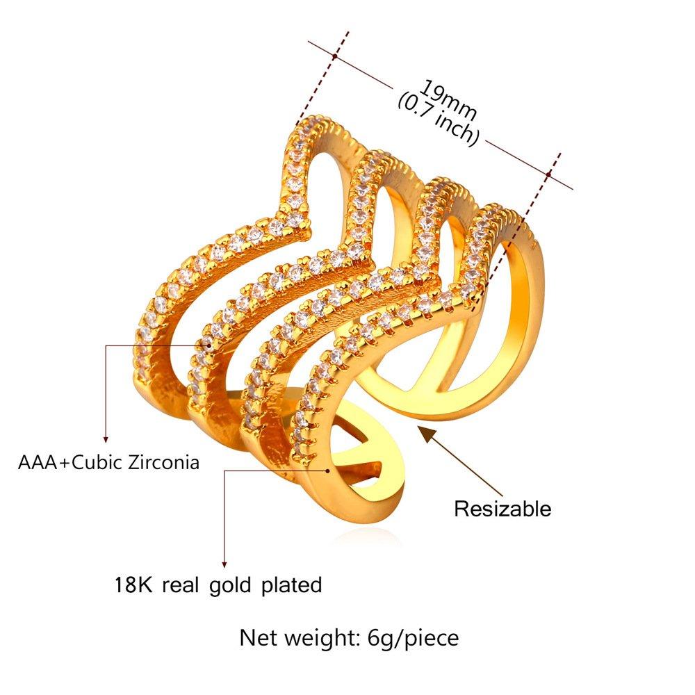 U7 Jewelry Women Girls Clear CZ 18K Gold Plated Statement Leaf Long Ring