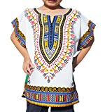 Raan Pah Muang RaanPahMuang Unisex Bright African White Children Dashiki Cotton Shirt, 1-3 Years, White Blue Green