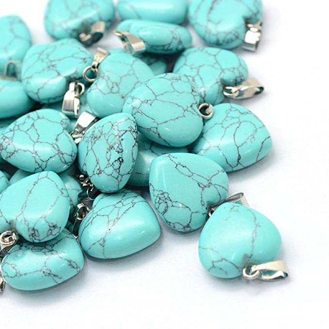 Z298 2 Heart Pendants Faux Turquoise with Silver Tone Brass Attached Bail Bead