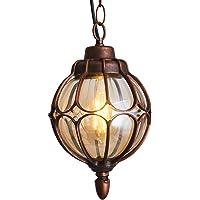 Injuicy Vintage Lámparas de Techo de Metal y Vidrio Araña Lámparas de Techo al Aire Libre Impermeables Antiguo Exterior…