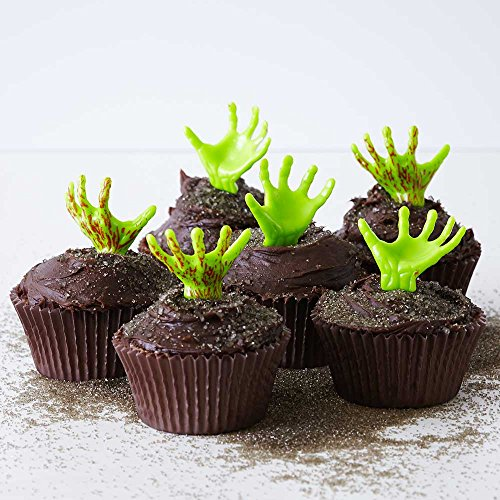 (24) Graveyard Cupcake Kit - Zombie Monster Hand Topper Picks, Standard Brown Grease Proof Baking Cups, Dark Brown Sugar