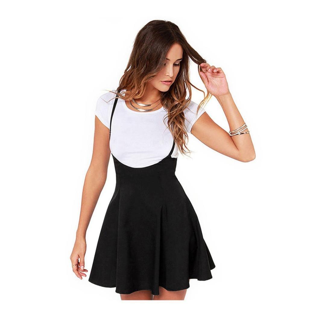 Women Dress,Fall Women Fashion Summer Black Skirt Shoulder Straps Pleated Mini Dress (Black, S)