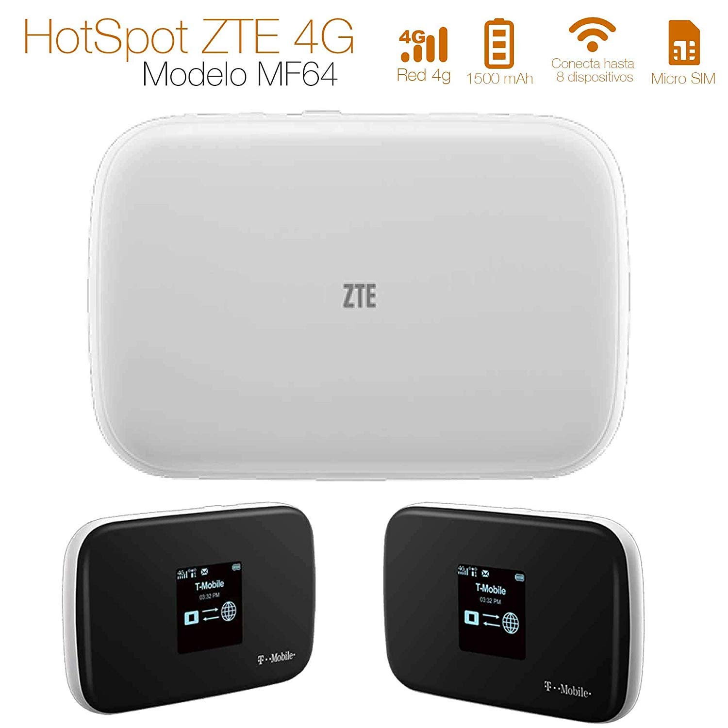Amazon.com: ZTE MF64 4G Mobile Broadband Wifi HotSpot Z64 (T ...