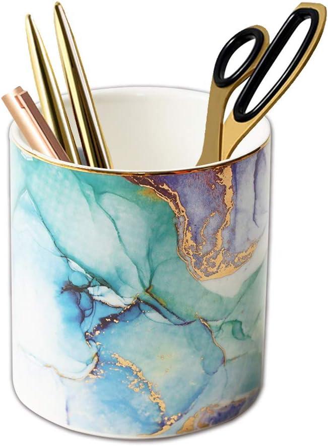 LIZIMANDU Pen Holder for Desk,Makeup Brush Holder, Stand for Desk Marble Pattern Pencil Cup for Kids Durable Ceramic Desk Organizer Ideal Gift for Home, Office(1 Pack,1-pomo)
