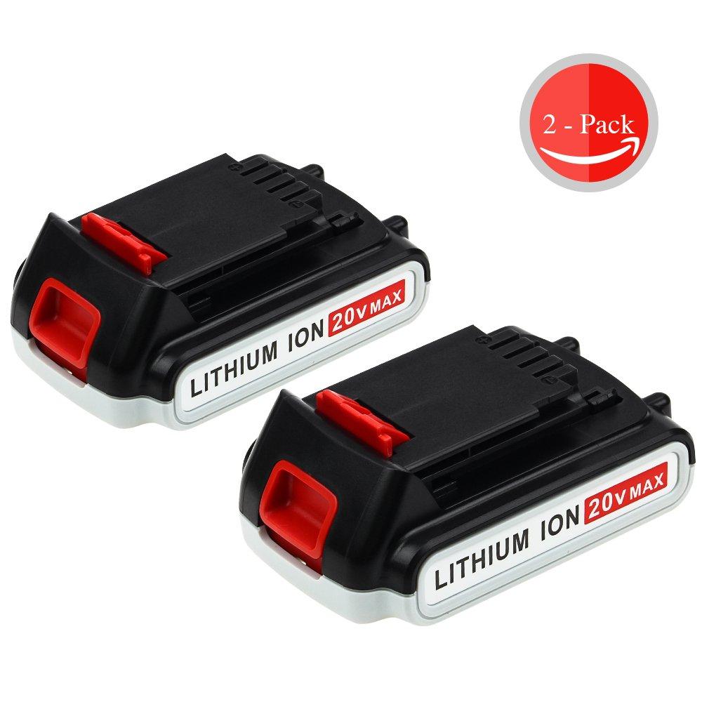 20V 2.5Ah for Black and Decker MAX Lithium Battery LBXR20 LBXR20-OPE LB20 LBX20 LBX4020 LB2X4020-OPE 2-packs GERIT BATT