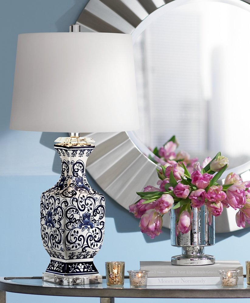 Iris blue and white porcelain with crystal table lamp amazon aloadofball Choice Image