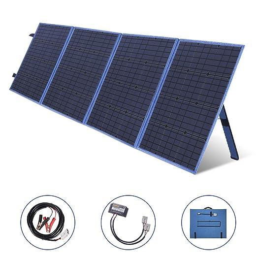 SARONIC Panel Solar Plegable Portátil de 200W y 12V con un Controlador de Carga Solar de 10A para Campistas, Caravanas, Reuniones de Autocaravanas, ...