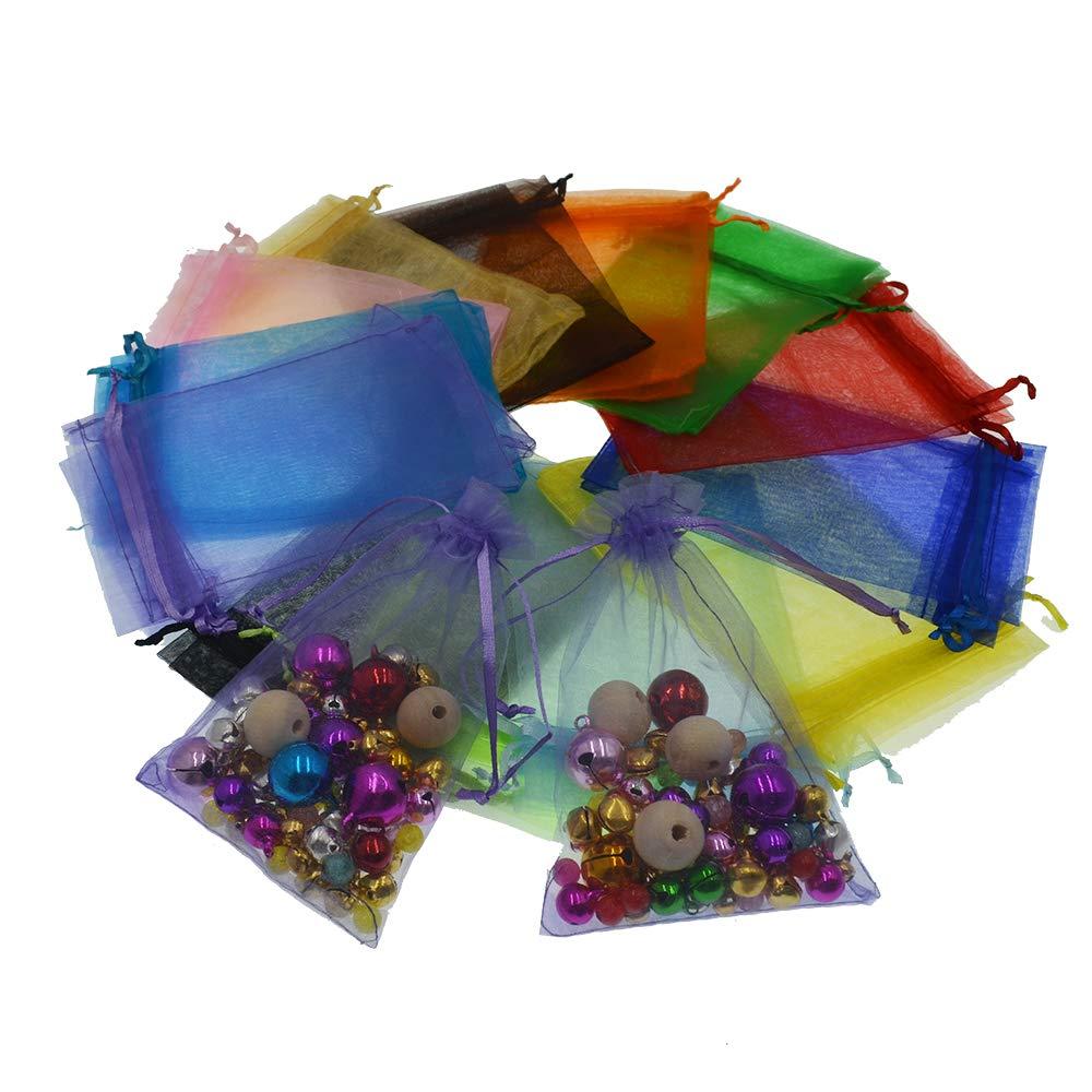 AsentechUK® - 100 Bolsas de Organza de 15 cm x 20 cm para joyería de Regalo, Bolsas de Organza con cajones