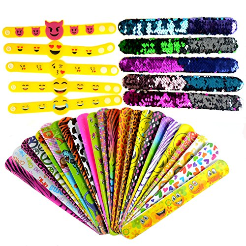 Slap Bracelets, 35 PCS Birthday Party Favors Gifts (25 Designs Slap Bracelets + 5 Reversible Sequin Mermaid Bracelets + 5 Silicone Emoji Bracelets), Charming Wristband for Kids and Adults. by JACHAM (Image #3)