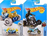 Hot Wheels Off-Road Cars 2017 New Model #186 HW Moto Quad Rod Blue & Mountain Mauler Snow Stormers #44 in Protective Cases