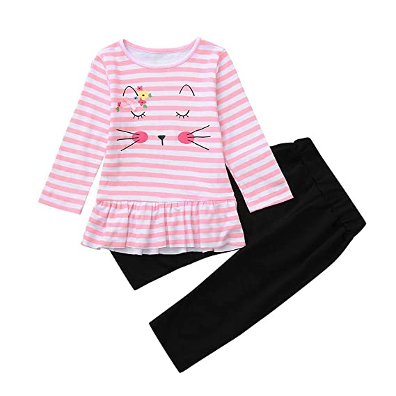 zolimx_bebé Conjuntos Bebe Invierno Recien Nacido, Niña Adorable Dibujos Animados Gato Rayado Tops Vestidos Pantalones Ropa de Conjuntos: Amazon.es: Ropa y ...