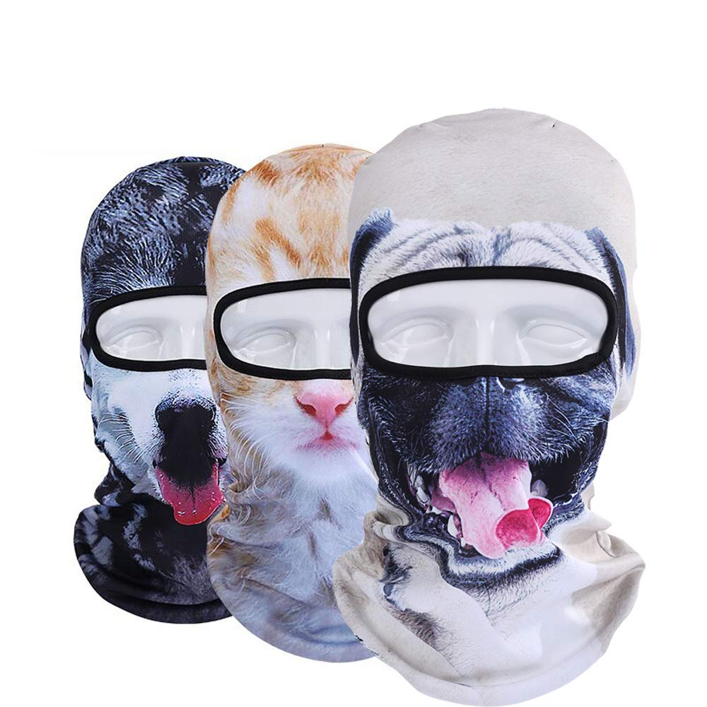 Pack of 3 Polyester Bandana Face for Out Riding Motorcycle Animal Ski Mask Winter Motorcycle Neck Warmer Sun Balaclava Tactical Hood Helmet Grey