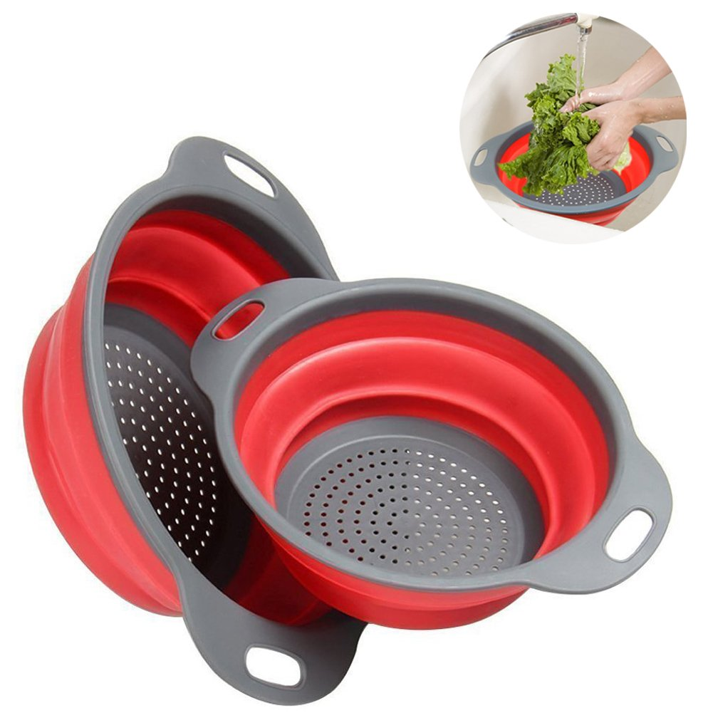2 Pcs Collapsible Silicone Colander/Strainer Folding Kitchen Fruit Vegetable Basket, Includes 2 Sizes 8 and 9.5 inch (Red Round) (Blue) Xuanlan