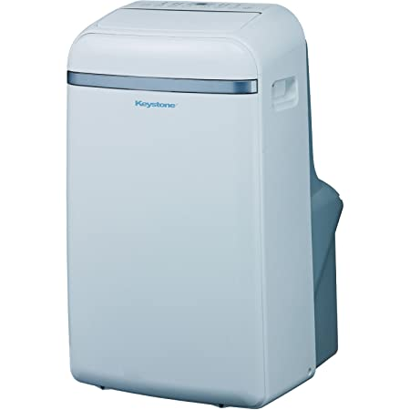 Keystone Eco-Friendly 14,000 BTU Portable Indoor Air Conditioner, Built-In Dehumidification with No Bucket Design , Electronic Controls with LED Display, and 3 Cooling 3 Fan Speeds – Sleep Mode, Full Function Temperature Sensing Follow Me Remote, Side Handles Castor Wheels and Flexible Exhaust Hose Included