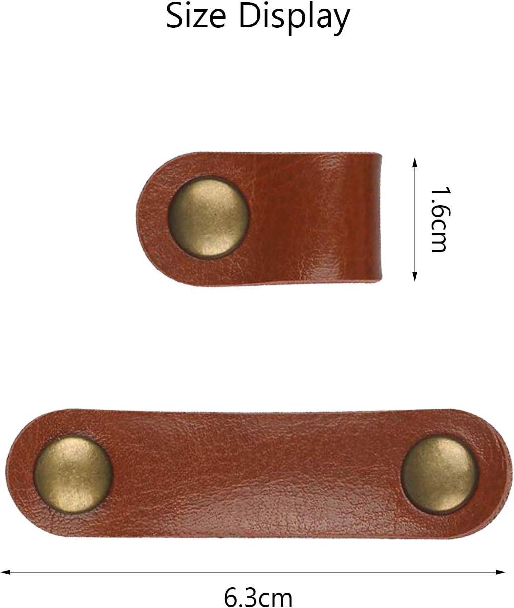 Matogle 12 Piezas Atadura de Cuero Cable Manager Set Sostenedor de Slambre Clip de Cable de Auriculares Clip de Gesti/ón de Cable USB Para Cable de Datos Cable de Auriculares 3 colores