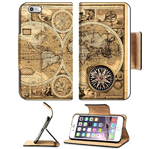 MSD Premium Apple iPhone 6 Plus iPhone 6S Plus Flip Pu Leather Wallet Case Old map 1626 A new and accvrat map of the world IMAGE - Free Australia Shipping Within