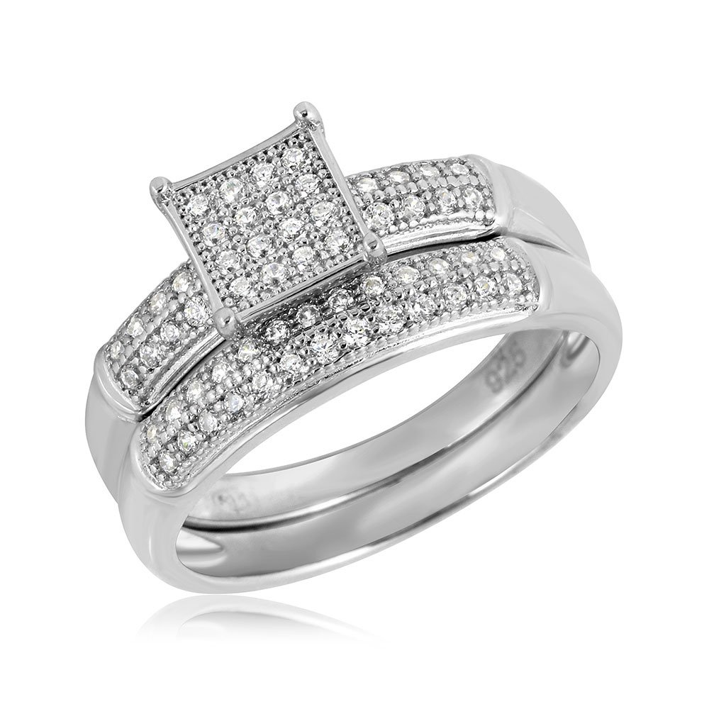 Princess Kylie Pave Set Square Center Cubic Zirconia Design Bridal Ring Rhodium Plated Sterling Silver