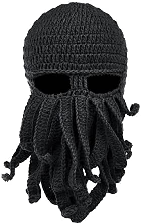 NYKKOLA Octopus Hat Beard Hat Beanie Hat Winter Warm Knit Hat Windproof Funny for Men & Women