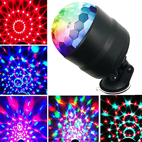 YomyRay Colorful Disco Light Crystal Magic Ball Stage Lights With Sound Activated Remote Control Rotating Effect RGBP 7 Colors USB Plug For Party Show In-car Festival Bar Club (Skyful Stars (Disco Ball Hat)