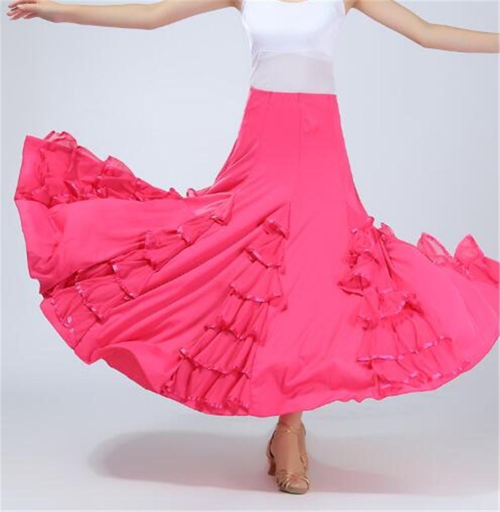 Rose Jupes de Danse de Salon pour Femmes Jupes de Danse de Danse Valse Perforhommeces sur scène S