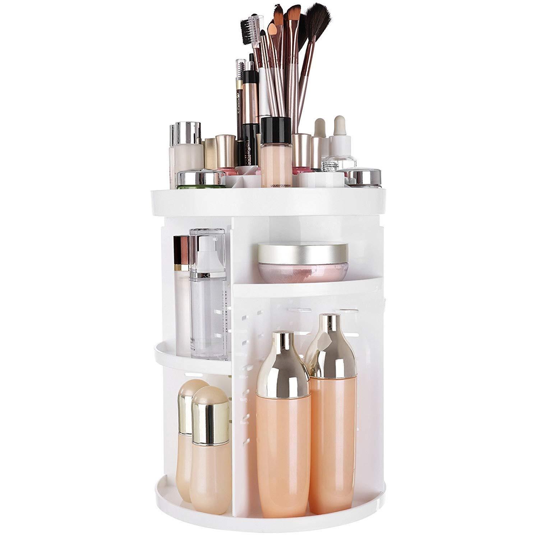 Makeup Organizer Rotaing Cosmetic 360 Storage Box,DIY Adjustable Makeup Carousel Spinning Holder Storage Rack.Large Capacity, Fits Toner, Creams,Lipsticks and More pure white