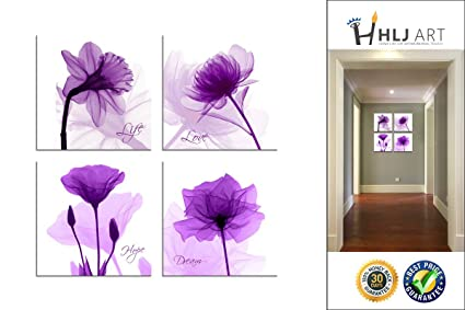 Amazon.com: Elegant Flower Wall Art Canvas Print Purple Color ...