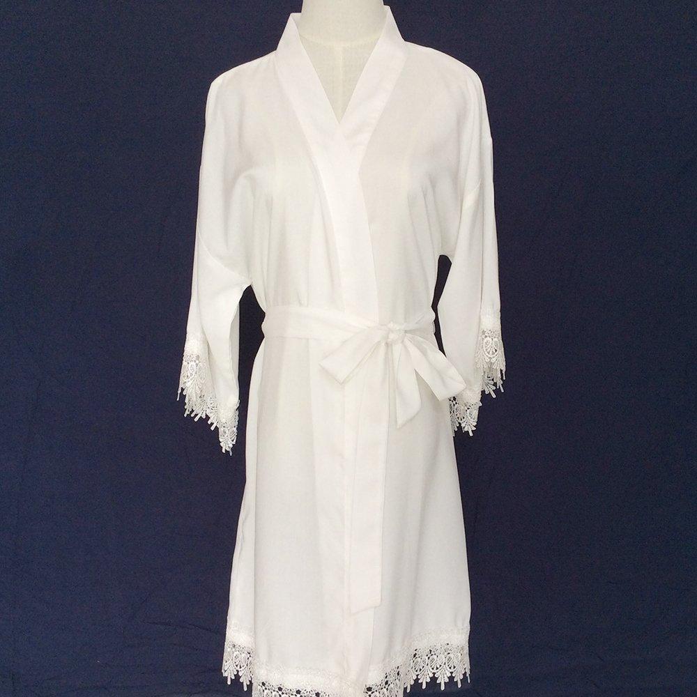 bianca veste nuziale donne kimono tunica (con pizzi trims) - damigella kimono vestaglia damigella dono nuziale regalo nuziale