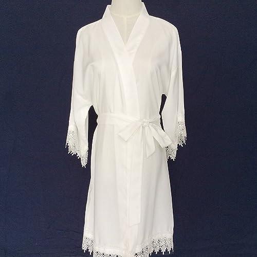 Traje de novia blanco kimono túnica de las mujeres (con adornos de encaje) -