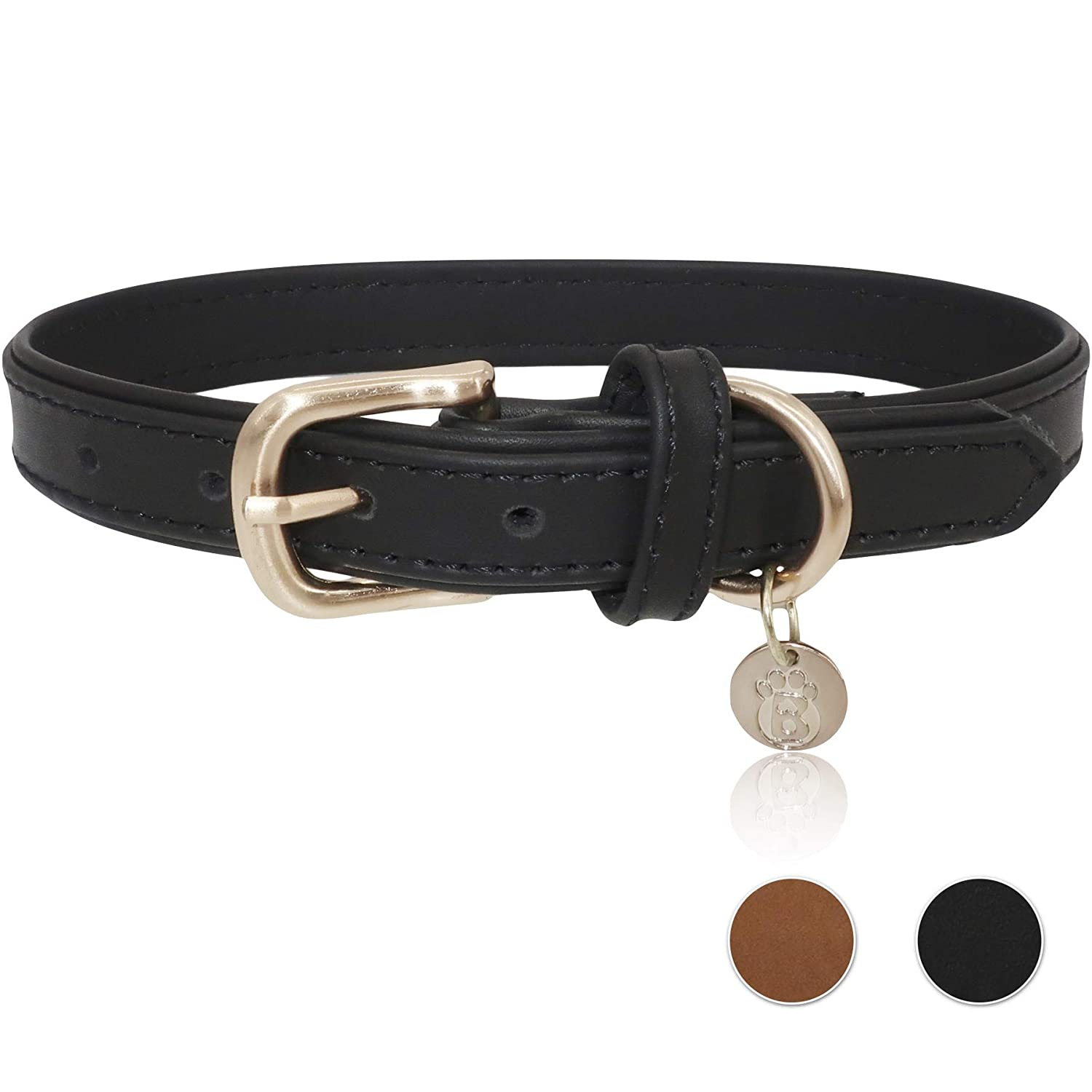 Black Large Black Large BARKBAY Soft Touch Genuine Leather Collar Luxury Real Leather Collar for Large Dog