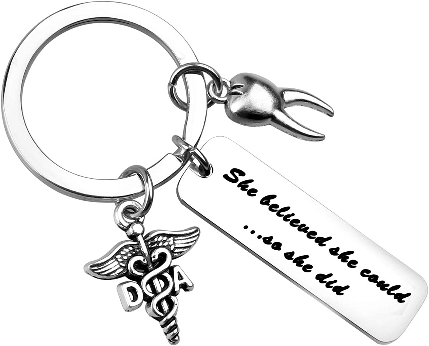 WSNANG Dentist Mom Dad Gift Im a Dentist and a Mom//Dad Nothing Scares Me Keychain Dental Hygienist Gift Dentist Retirement Gift Appreciation Gift for Dentist Mom Dad