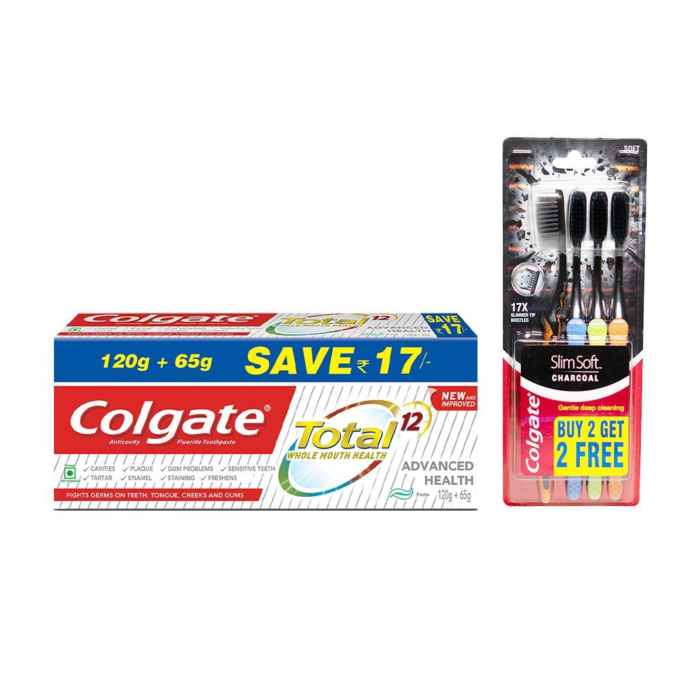 Colgate Total Deep Clean Toothpaste – 1Slim Soft Charcoal Toothbrush – 4 Pcs