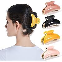 Twinfree 4 Pack Plastic Plain Color Acrylic Hair Clip Hair Barrette for Women (color 1)