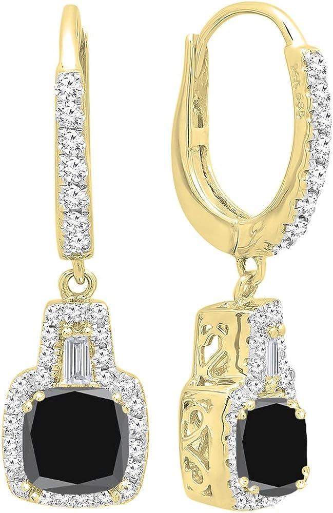 DazzlingRock Collection 14K Oro Amarillo 5MM Cada Piedra Preciosa del Amortiguador y Pendientes de Gota cónicos y Redondos de Las Mujer del Diamante Negro Zafiro