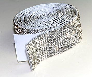Crystal Mesh Strassband SS6 Borte Selbstklebend Breite w/ählbar 7mm x 1150mm 1,15m lang Chaton Strasssteine 3reihig
