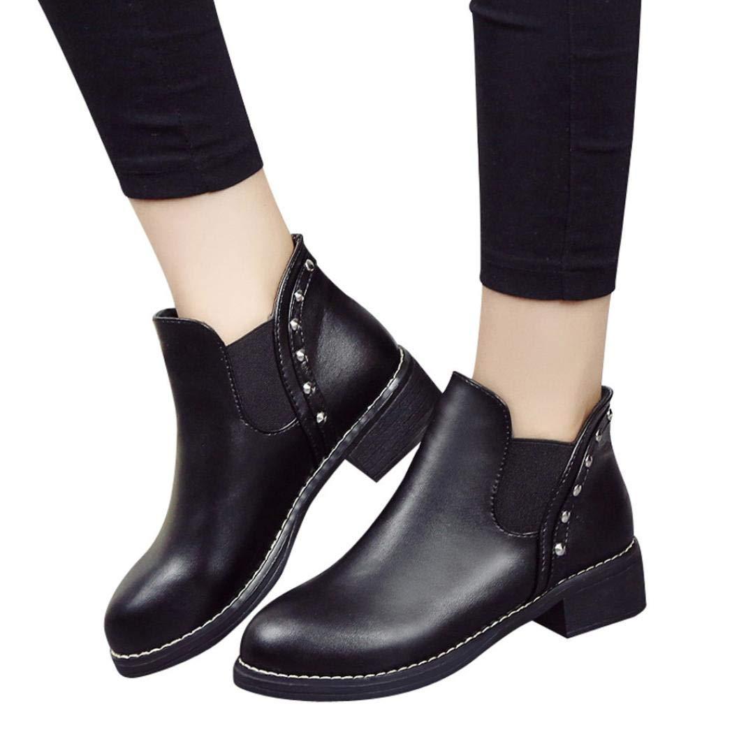 Vovotrade ❤ Stivaletti da Donna con Tacco a Spillo, Rivetti da Donna borsellini Piatti in Pelle e Ankle Boots