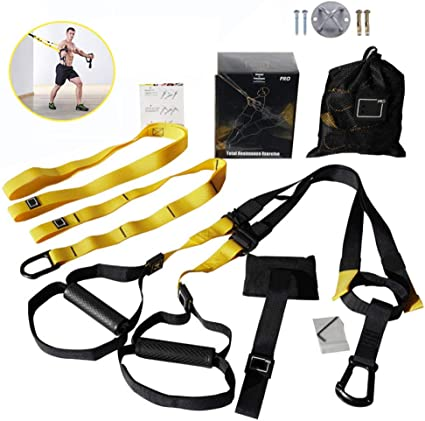 CHOiES record your inspired fashion Bodyweight Fitness Resistance Training Straps Kit,Powerlifting Strength Training Kit,Straps Home Gym Exercise,Workout Easy Setup Gym Home Outdoors