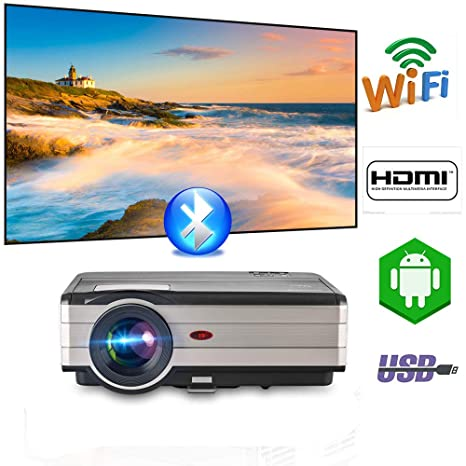 Amazon com: 4200 Lumen Smart LED Home Wifi Projector
