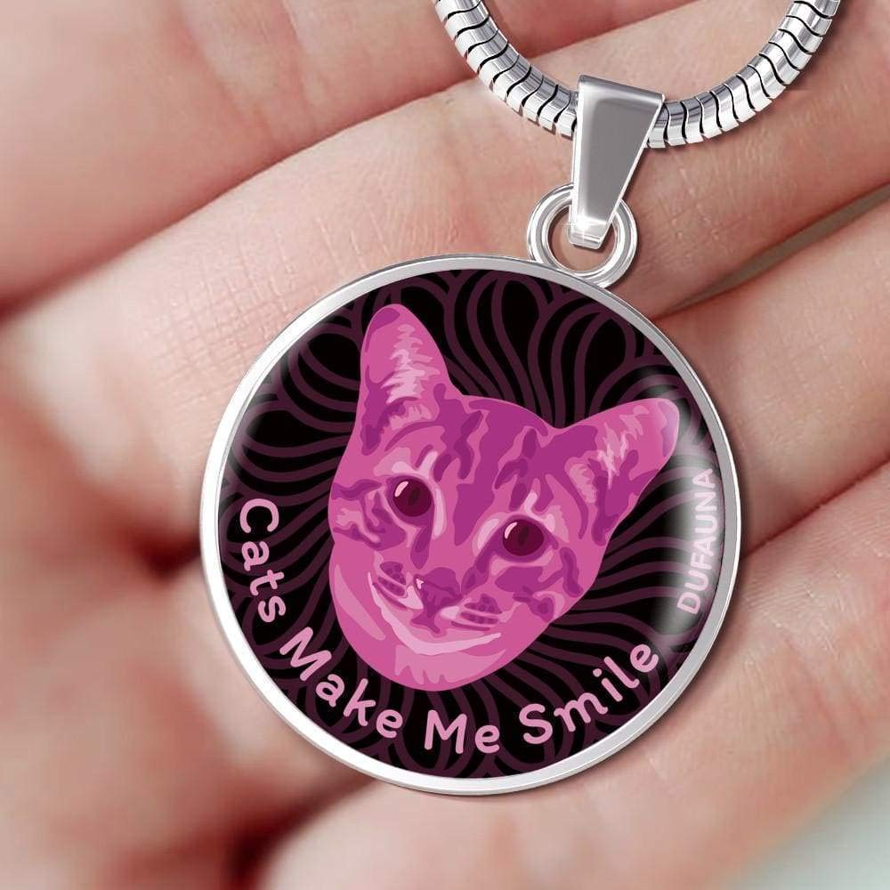 Many Colors DuFauna Berry Pink//Black Cats Make Me Smile Necklace D19 Steel or 18k Gold Finish 18-22