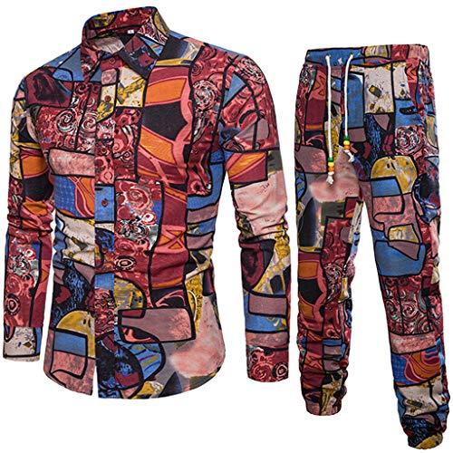 Men Casual Long Sleeve Shirt Business Slim Fit Shirt Print Blouse Top+Pants]()