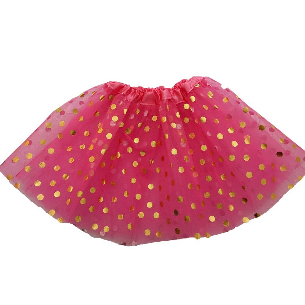 Kids Girls Dot Printed Gauze Princess Tutu Skirt Dance Performance Pettiskirt Rose Red