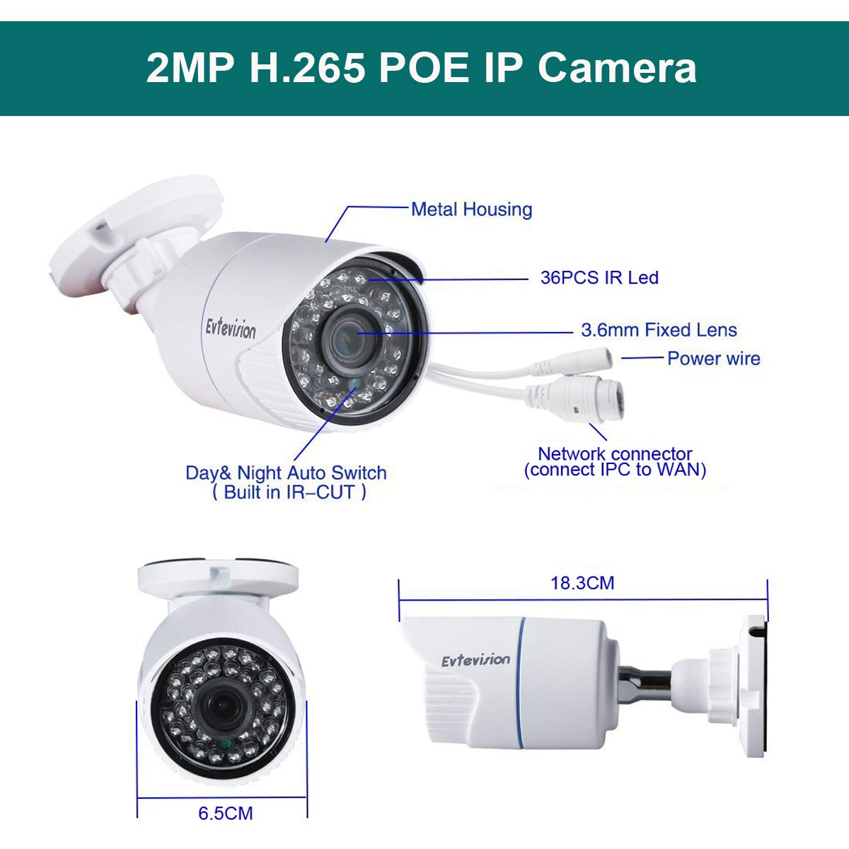 IP Camera,Home Surveillance Bullet Indoor Outdoor Network CCTV Cameras,P2P Cloud 36pcs IR Leds 30Meter Night Vision 866183 Motion Detection 1080P 2MP POE Power Over Ethernet Evtevision Security IP Camera