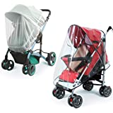 Universal Baby Stroller Rain Cover + Mosquito Net,Idefair Weather Shield Accessories,Protect from Rain Wind Snow Dust…