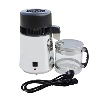 ECO-Worthy 4L Stainless Steel Countertop Water Distiller Purifier Pure Water Distiller Filters Water Distillation W/Glass Collection Bottle 750W
