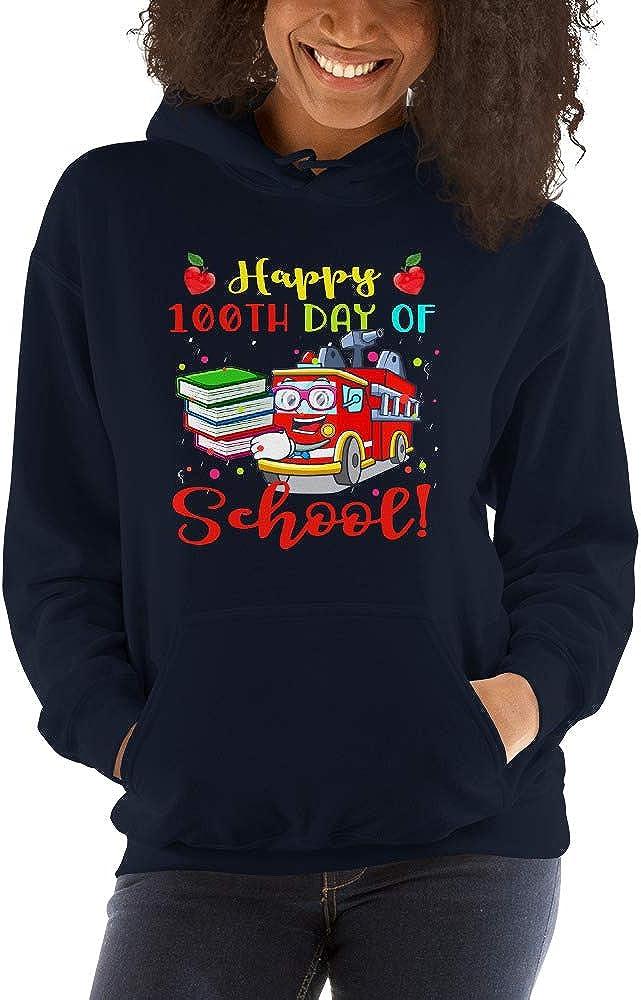 TEEPOMY 100Th Day of School Fire Engine 100 Days of School Unisex Hoodie