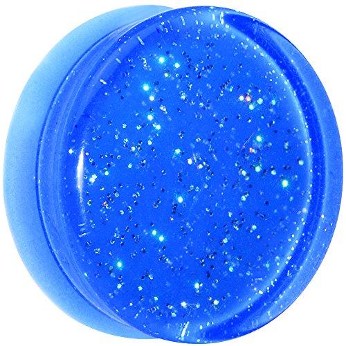 Body Candy Blue Neon Acrylic Glitter Saddle Ear Gauge Plug (1 Piece) 26mm