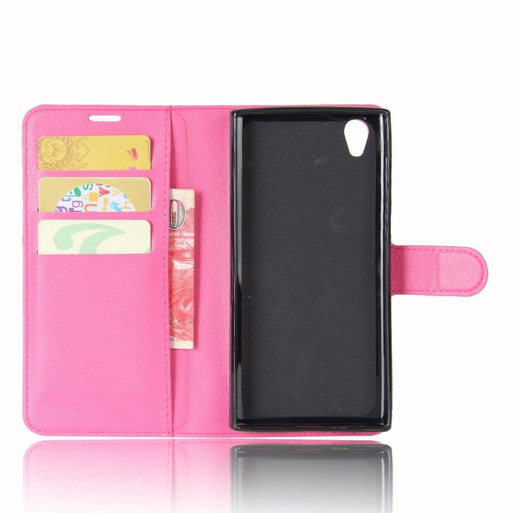 Guran® Funda de Cuero PU Para Sony Xperia L1 Smartphone Función de Soporte con Ranura para Tarjetas Flip Case Cover Caso-rose red